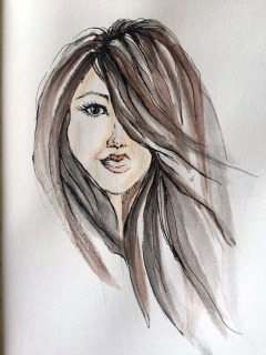 Doodlewash and watercolor sketch by Carolina Russo self-portrait