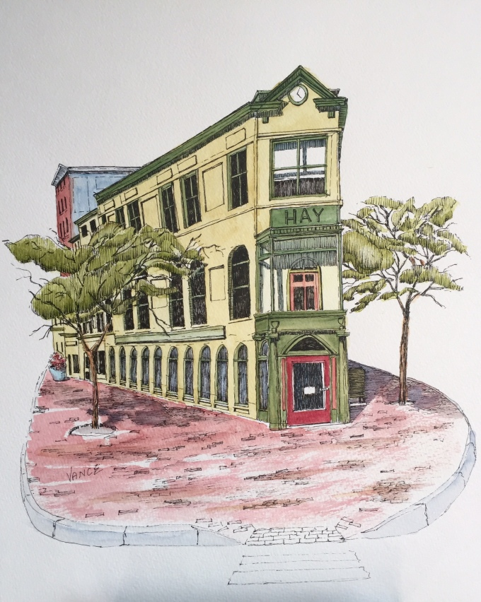 Hay Building by Jay Vance - Doodlewash and watercolor sketch of green and yellow building