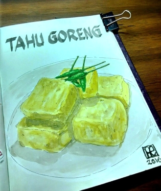 Doodlewash and watercolor sketch of Tahu Goreng by One Faristiwa