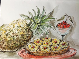 Doodlewash and watercolor sketch by Carolina Russo of National Pineapple Upside Down Cake Day