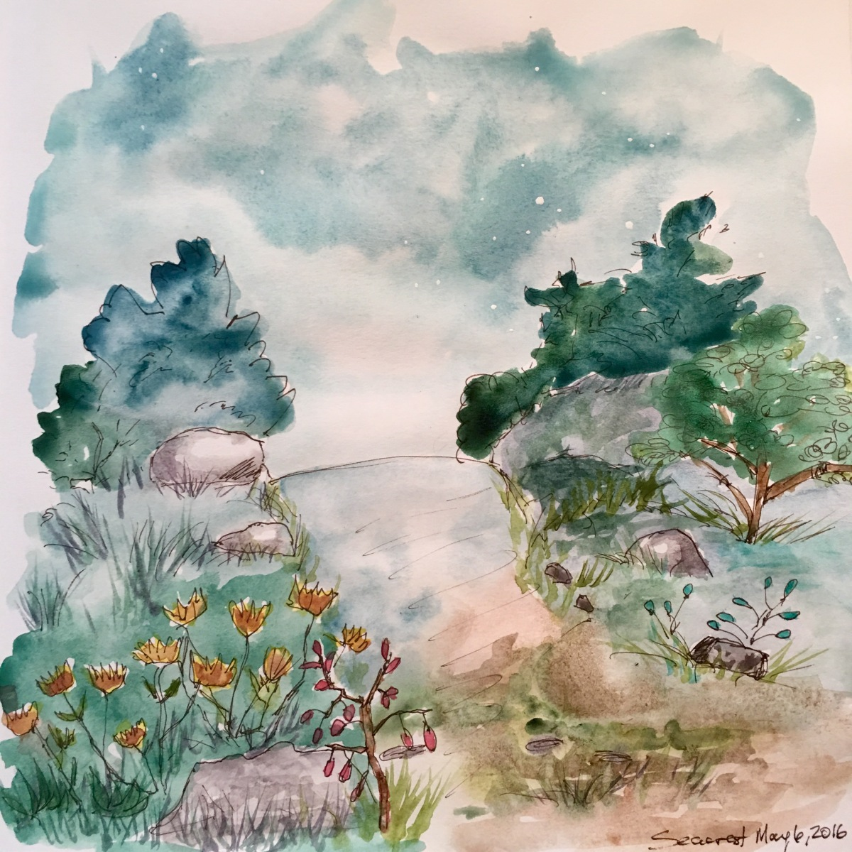 Painting using Daniel Smith Primatek watercolors in a Seawhite journal.