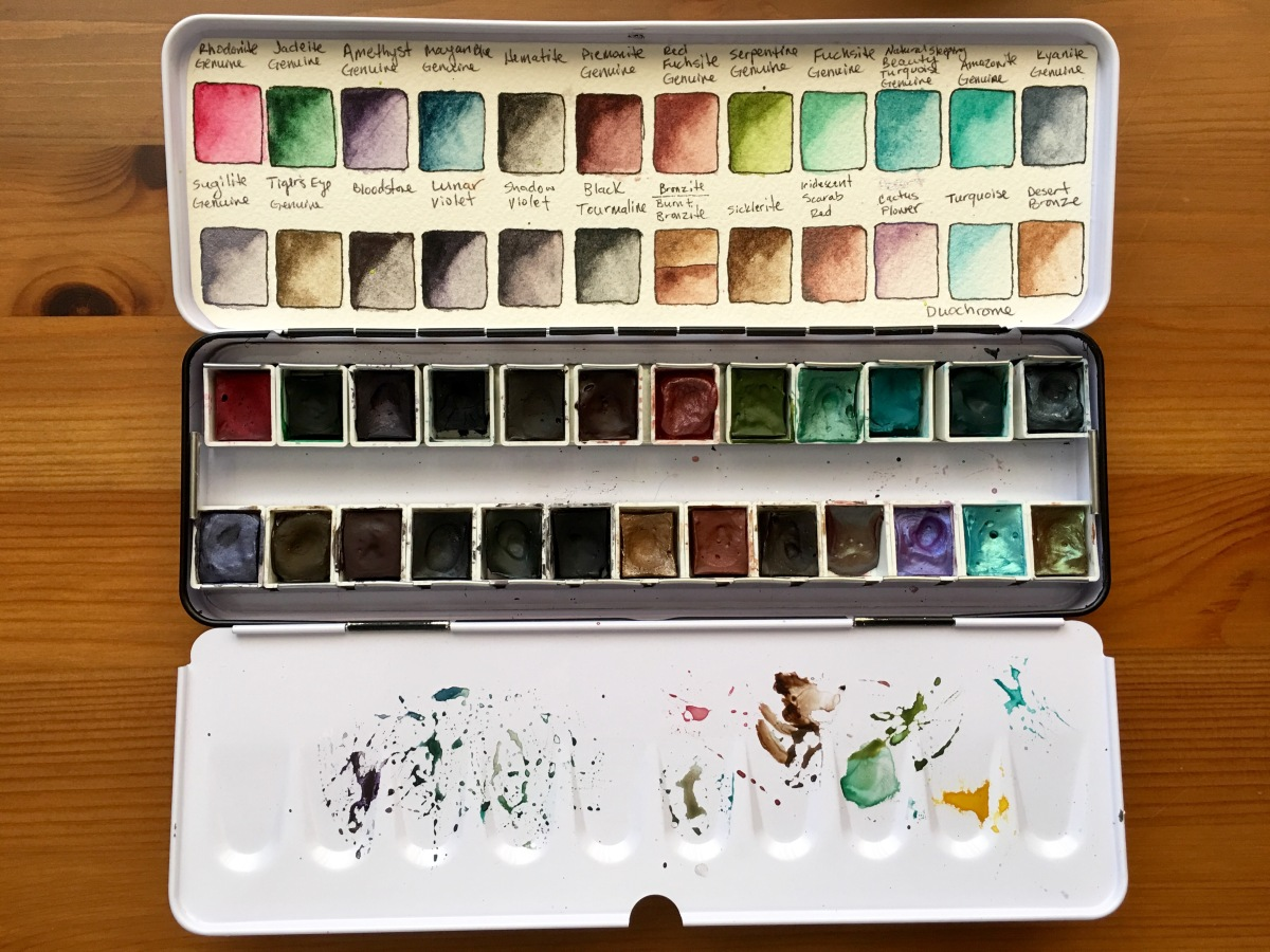 Daniel Smith PrimaTek watercolors swatches and metal paint palette with half pans
