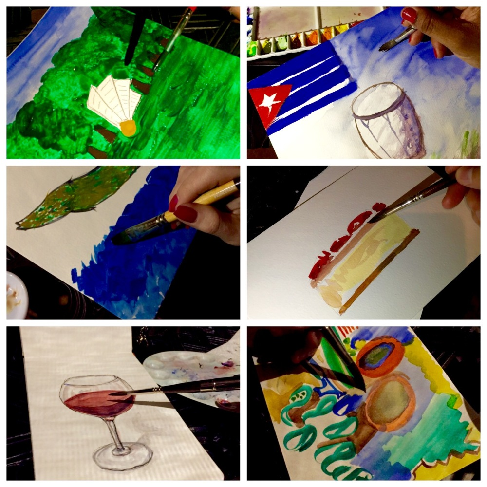 Various doodlewashes from a real life Doodlewash Dinner Party