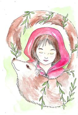 Doodlewash by Maria Christina Dina - watercolor of little red riding hood children's book illustration