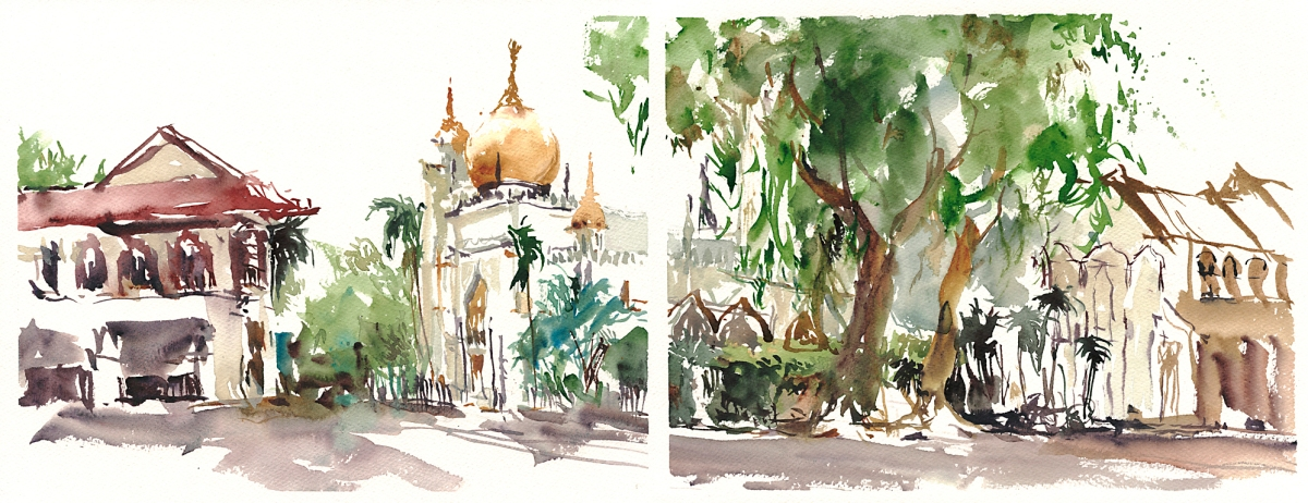Singapore Grand Mosque - Doodlewash, Urban Sketch in watercolor