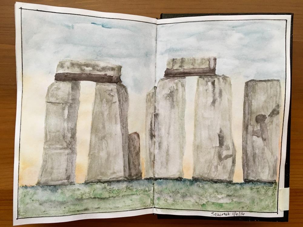 Greenleaf & Blueberry watercolour painting sample in a Stillman & Birn Alpha Series Journal of Stonehenge