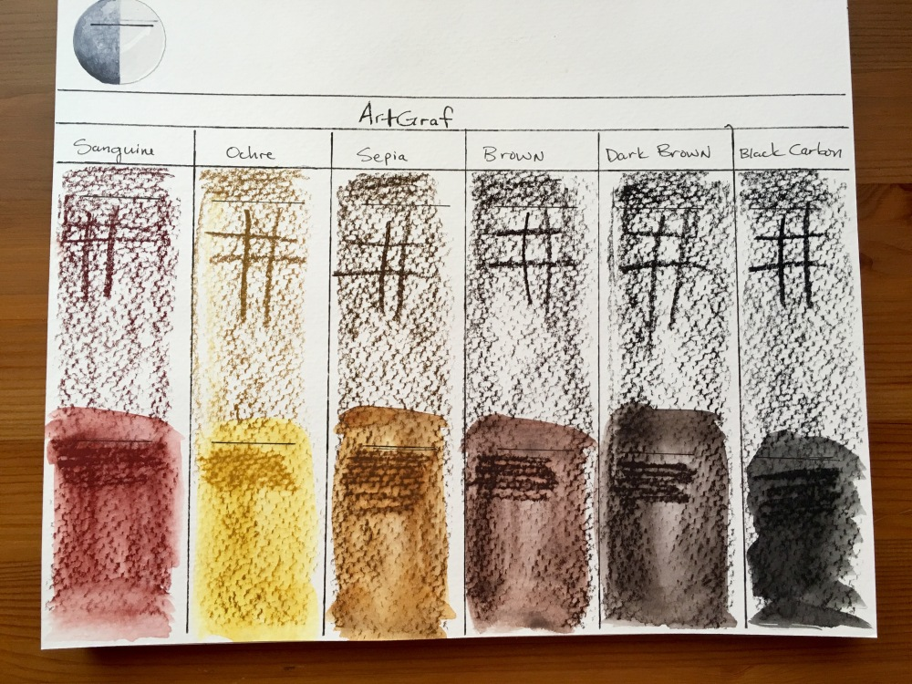 Color swatches of ArtGraf Tailor Chalks, which comes in six different colors- Sanguine, Ochre, Sepia, Brown, Dark Brown and Carbon Black. on Strathmore 400 series watercolor paper