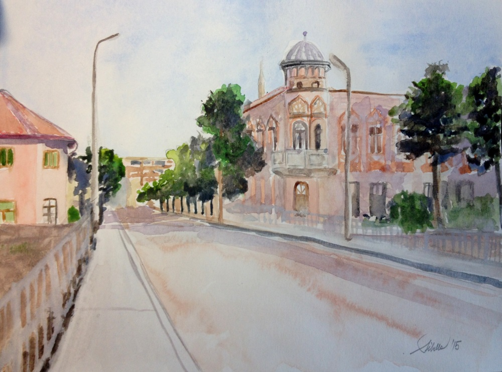 Doodlewash and watercolor painting by Sibella of street with buildings
