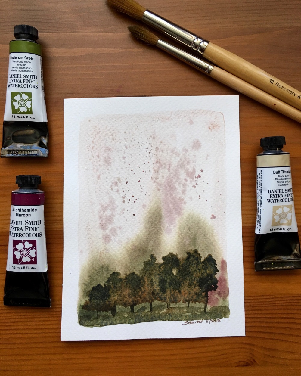 Daniel Smith Extra Fine watercolor painting using Undersea Green, Naphthamide Maroon, and Buff Titaniuml, paint tubes and Rosemary & Co brushes