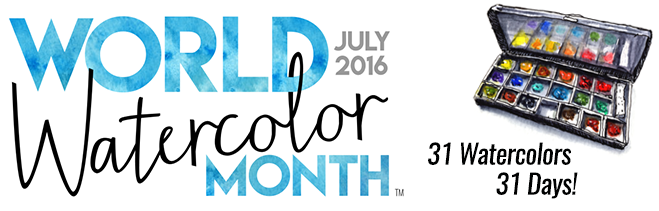 World Watercolor Month July 2016 Banner with metal watercolor palette