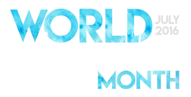 World Watercolor Month July 2016 Logo for Dark Background worldwatercolor.com - Founded by Charlie O'Shields Doodlewash