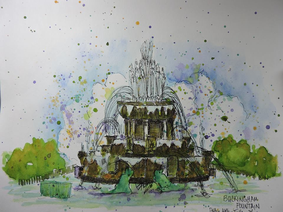 Doodlewash and watercolor painting by Pattie Keller Fuller of fountain