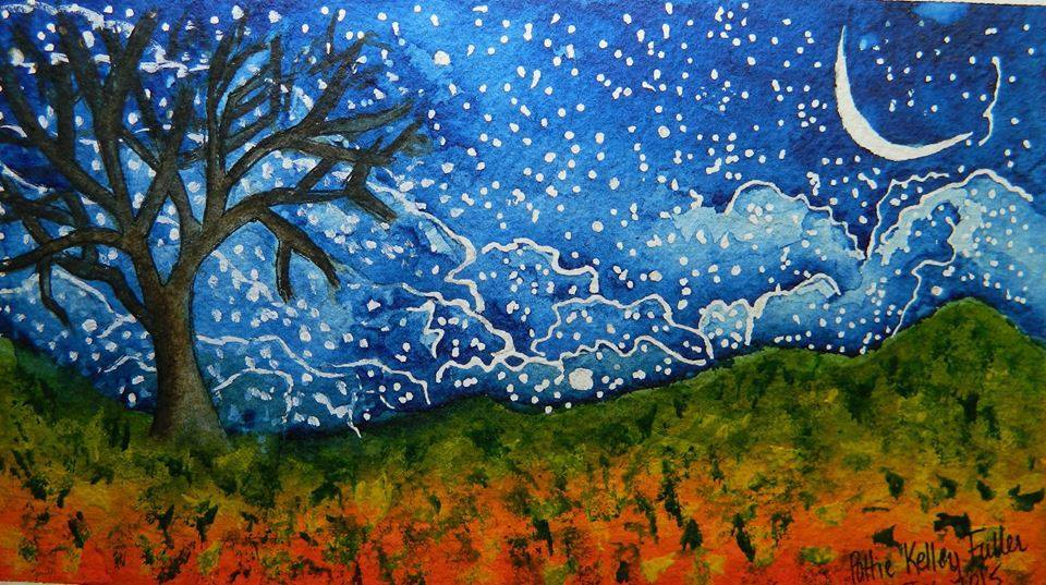 Doodlewash and watercolor painting by Pattie Keller Fuller of night sky