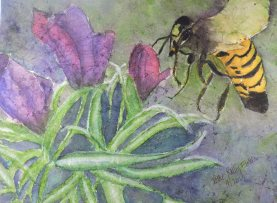 Doodlewash and watercolor painting by Pattie Keller Fuller of bee and flower