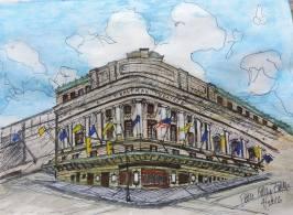 Doodlewash and watercolor painting by Pattie Keller Fuller of building
