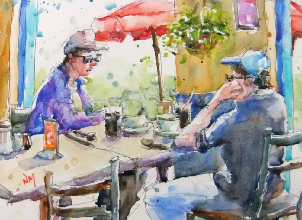 Doodlewash and watercolor painting by Nora MacPhail of people sitting at lunch