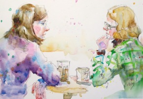 Doodlewash and watercolor painting by Nora MacPhail of two women having a conversation