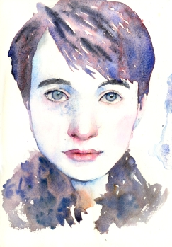Doodlewash and watercolor sketchy by Asuka Kagawa A Sktchy portrait in The Perfect Sketchbook