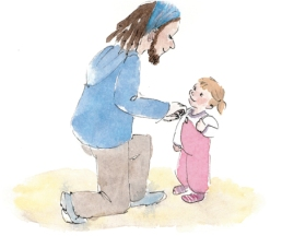 Doodlewash and watercolor painting by Olga Reiff of little girl and dad