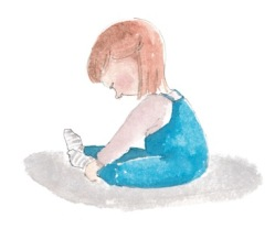 Doodlewash and watercolor painting by Olga Reiff of little girl