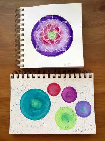 Bee Paper Co Aquabee Deluxe sketchbook & Strathmore visual journal with wet media, neocolor II gouache