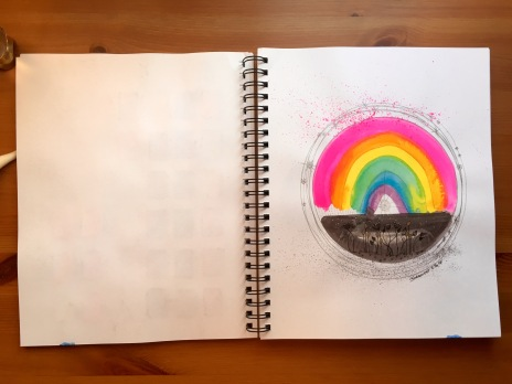 Canson XL mixed media journal with gouache and watercolor, gelly roll rainbow mandala painting
