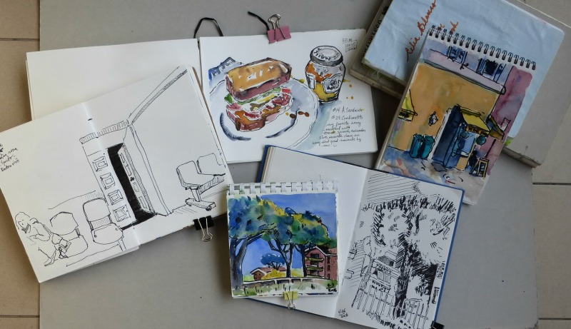 Doodlewash and watercolor sketch by Celia Blanco of sketchbooks
