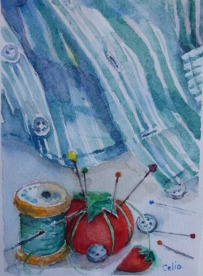 Doodlewash and watercolor sketch by Celia Blanco of sewing mending supplies and shirt
