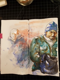 Doodlewash by Urban Sketcher Suzala of man on the street