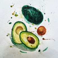 Doodlewash and watercolor sketch by Alice Cleary of Avocado