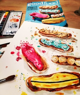 Doodlewash and watercolor sketch by Alice Cleary of various colorful eclairs