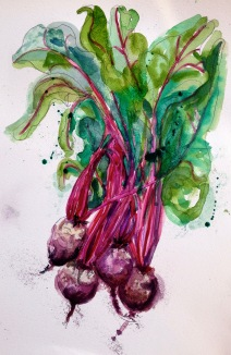 Doodlewash and watercolor sketch by Alice Cleary of radishes