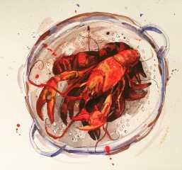 Doodlewash and watercolor sketch by Alice Cleary of red lobster in pot