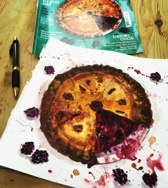 Doodlewash and watercolor sketch by Alice Cleary of Sloe Gin Bramble Pie