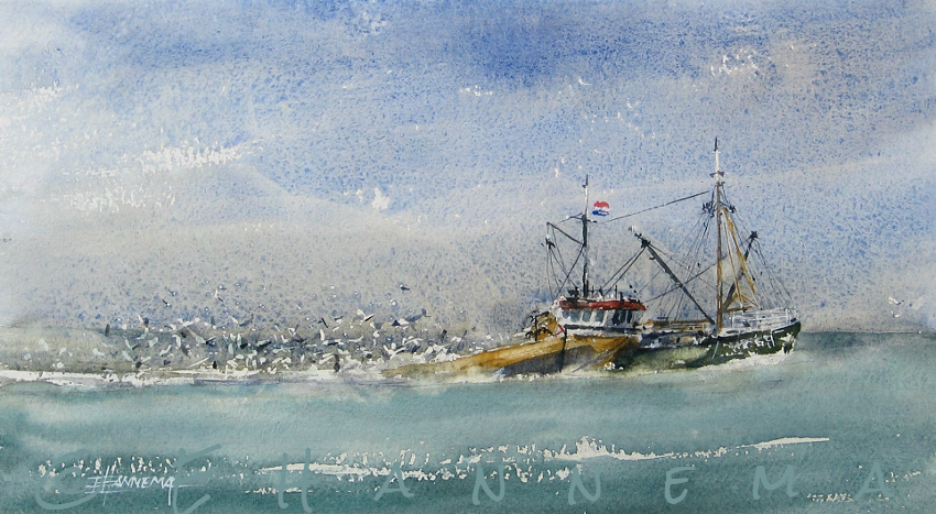 Doodlewash and watercolor painting by Edo Hannema of fishing boat and seagulls