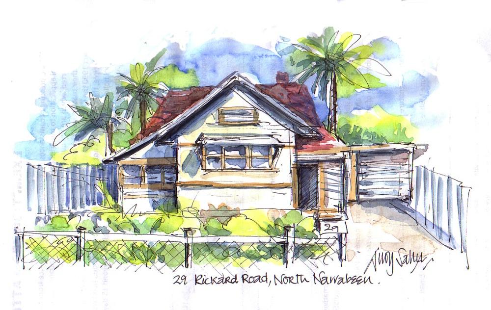 Doodlewash and watercolor painting by Judy Salleh of 29 Rickard Road