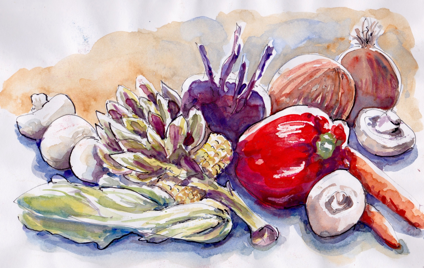 Doodlewash and watercolor painting by Judy Salleh of artichokes and vegetables carrots onions mushrooms