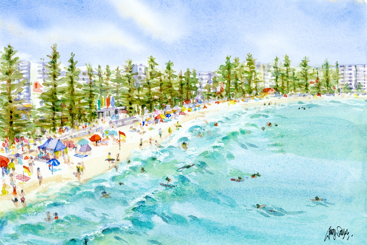 Doodlewash and watercolor painting by Judy Salleh of beach