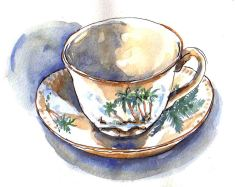 Doodlewash and watercolor painting by Judy Salleh of Hawaiian Teacup