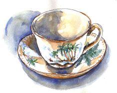 Doodlewash and watercolor painting by Judy Salleh of Hawaiian Teacup