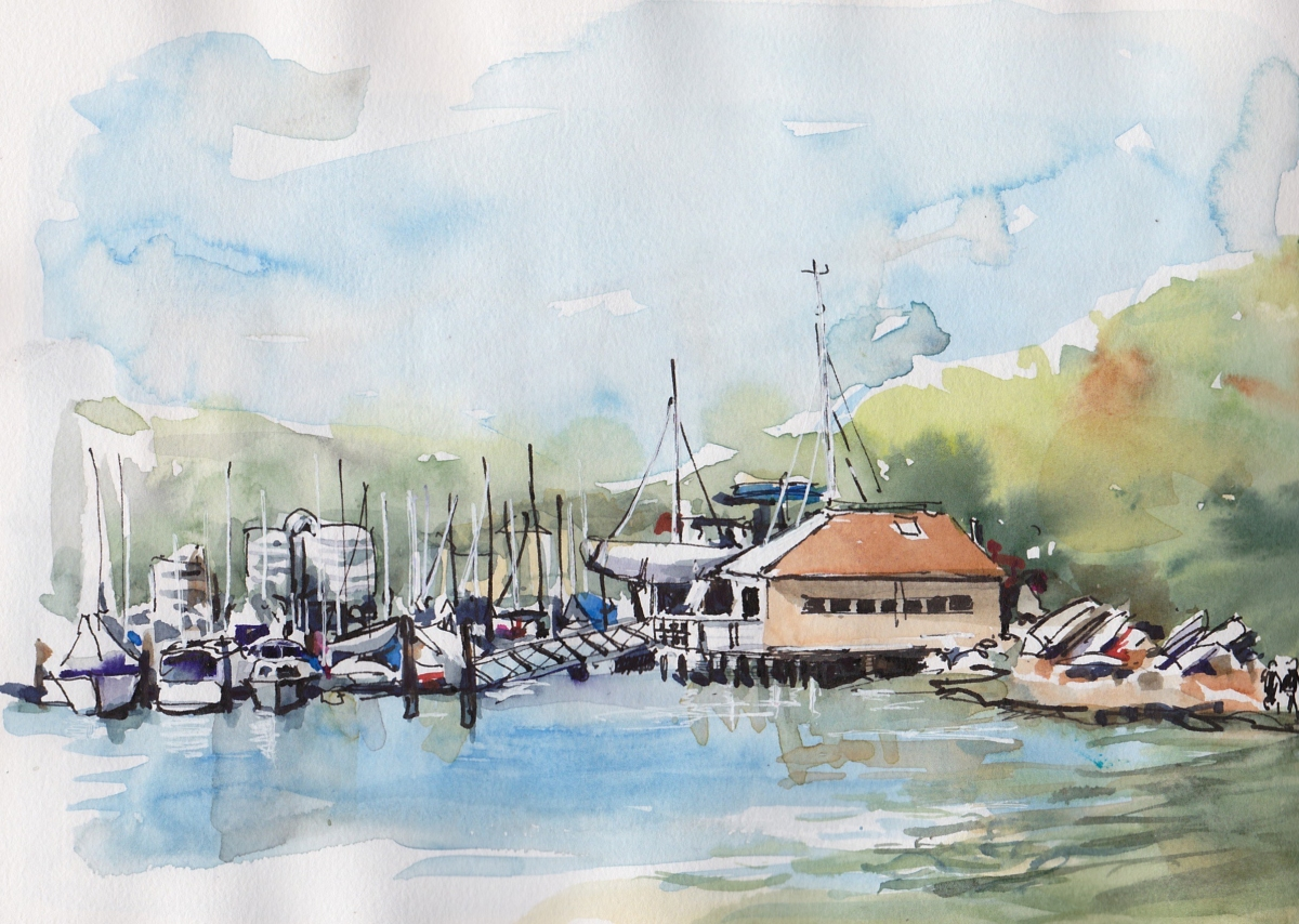 Doodlewash and watercolor painting by Judy Salleh of sailboats
