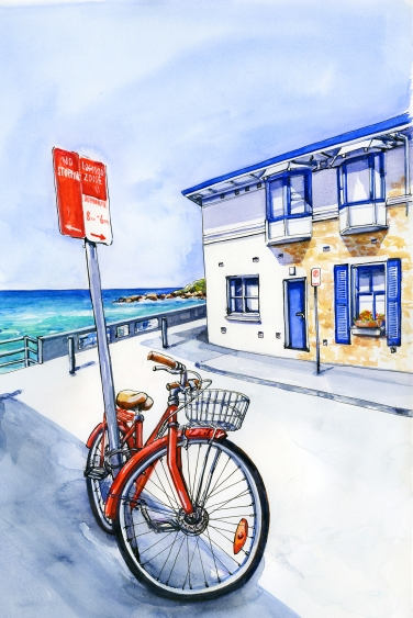 Doodlewash and watercolor painting by Judy Salleh of seaside house and red bike