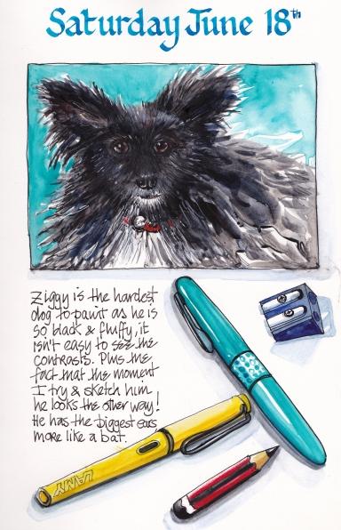 Doodlewash and watercolor painting by Judy Salleh of sketchbook page