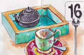 Doodlewash and watercolor painting by Judy Salleh of teapot and cup and saucer
