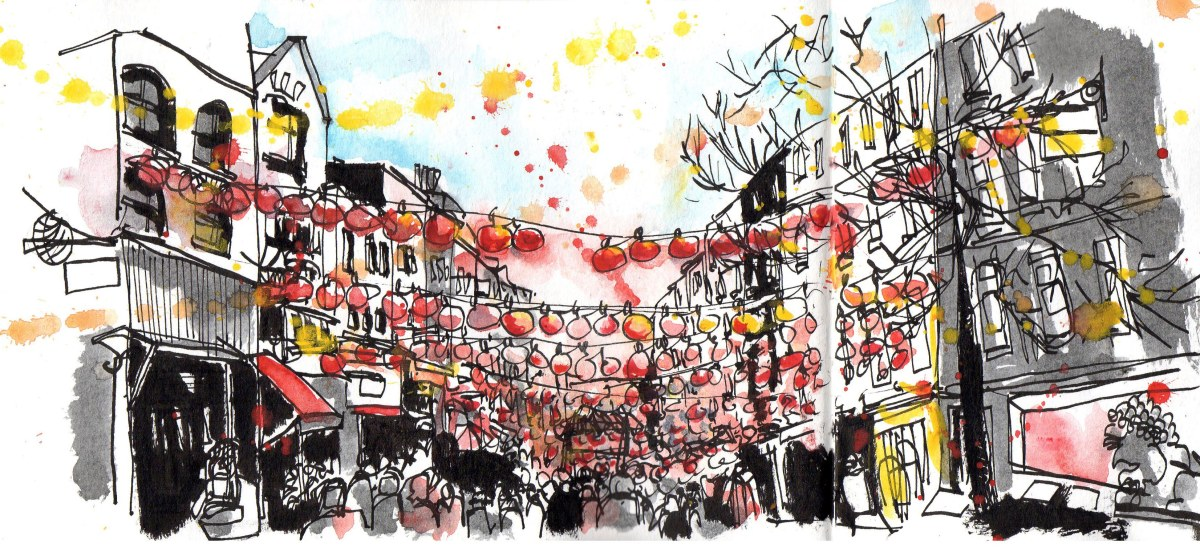 Doodlewash and Urban Sketch by Sanjukta Sen of Chinatown London LQP