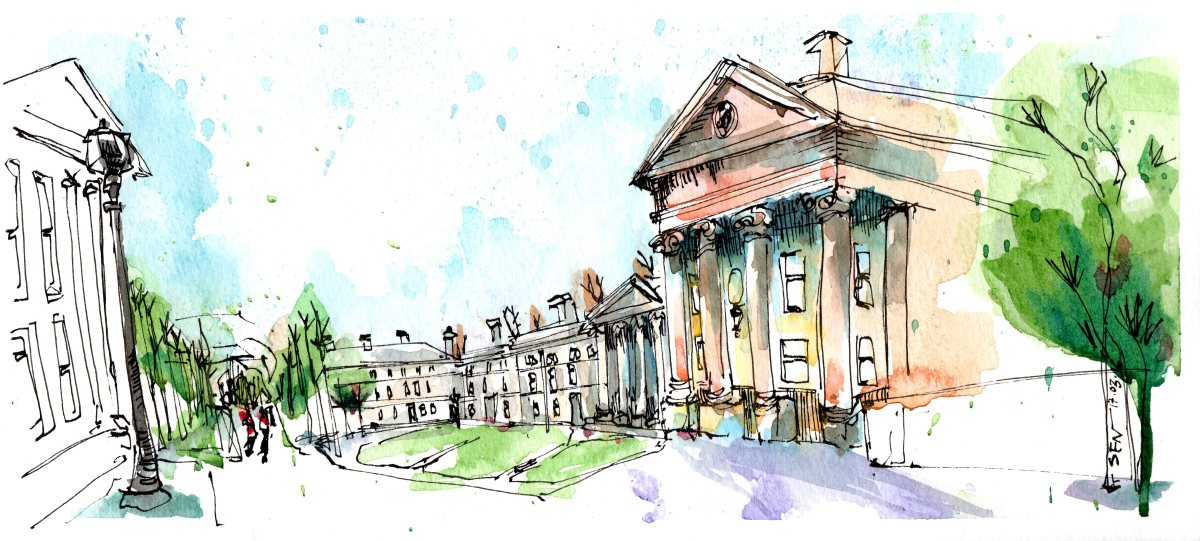 Doodlewash and Urban Sketch by Sanjukta Sen of Downing College