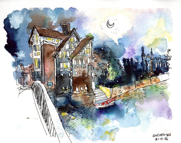 Doodlewash and Urban Sketch by Sanjukta Sen of house next to water with bridge