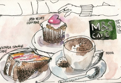 Doodlewash and Urban Sketch by Sanjukta Sen of M and S Cafe