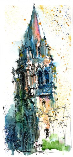Doodlewash and Urban Sketch by Sanjukta Sen of Regent Streer Church