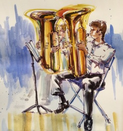 Doodlewash by Urban Sketcher Suzala of men playing the tuba